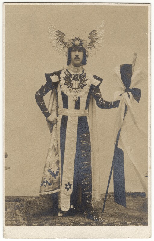 Henry Cyril Paget, 5th Marquess of Anglesey in costume for the Headgear fancy-dress ball, by Unknown photographer, 1900s - NPG x126386 - © National Portrait Gallery, London