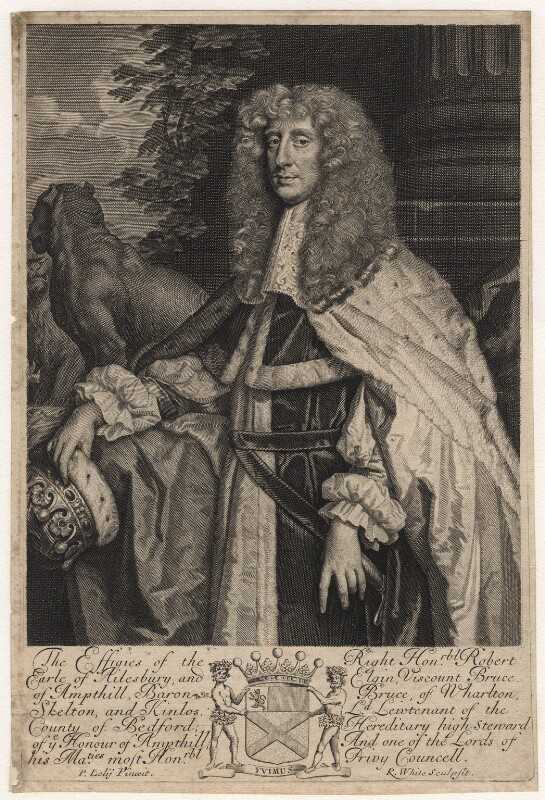 Robert Bruce, 1st Earl of Ailesbury and 2nd Earl of Elgin, by Robert White, after  Sir Peter Lely, late 17th century - NPG D16280 - © National Portrait Gallery, London
