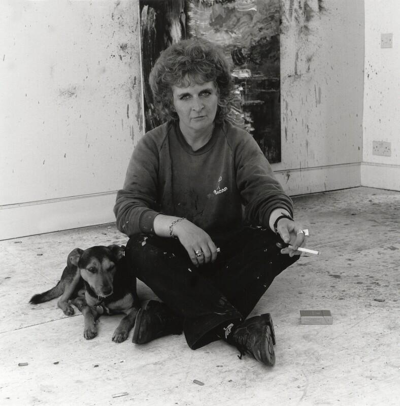 Maggi Hambling, by George Newson, 20 June 1989 - NPG x35732 - © George Newson / Lebrecht Music & Arts