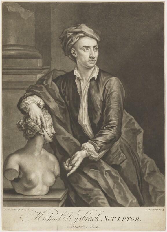 John Michael Rysbrack, by John Faber Jr, after  John Vanderbank, 1734 (1728) - NPG D18928 - © National Portrait Gallery, London