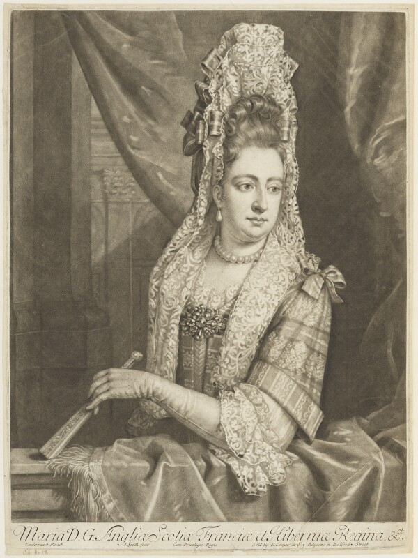 Queen Mary II, by John Smith, published by  Edward Cooper, after  Jan van der Vaart, circa 1683-1729 - NPG D18929 - © National Portrait Gallery, London