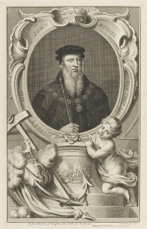 John Russell, 1st Earl of Bedford, by Jacobus Houbraken, published by  John & Paul Knapton, published 1739 - NPG D18953 - © National Portrait Gallery, London
