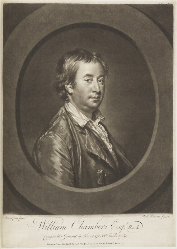Sir William Chambers, by Richard Houston, published by  Robert Sayer, after  Francis Cotes, published 1 June 1772 - NPG D19012 - © National Portrait Gallery, London