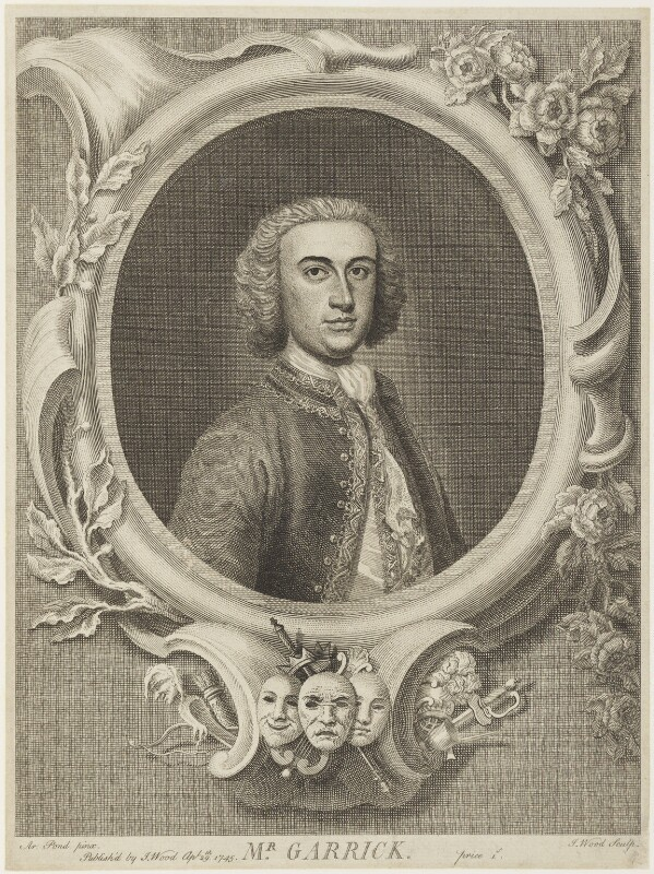 David Garrick, by and published by J. Wood, after  Arthur Pond, published 29 April 1745 - NPG D19067 - © National Portrait Gallery, London