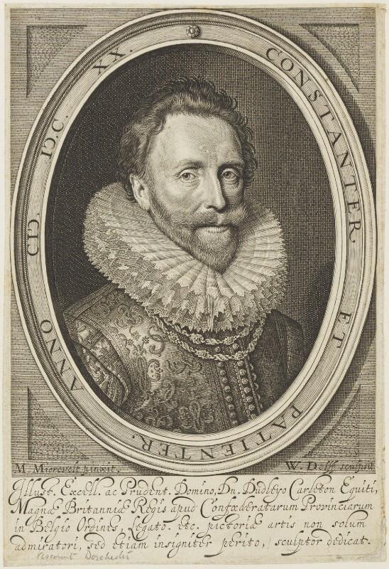 Dudley Carleton, Viscount Dorchester, by Willem Jacobsz Delff, after  Michiel Jansz. van Miereveldt, 1620 - NPG D19071 - © National Portrait Gallery, London