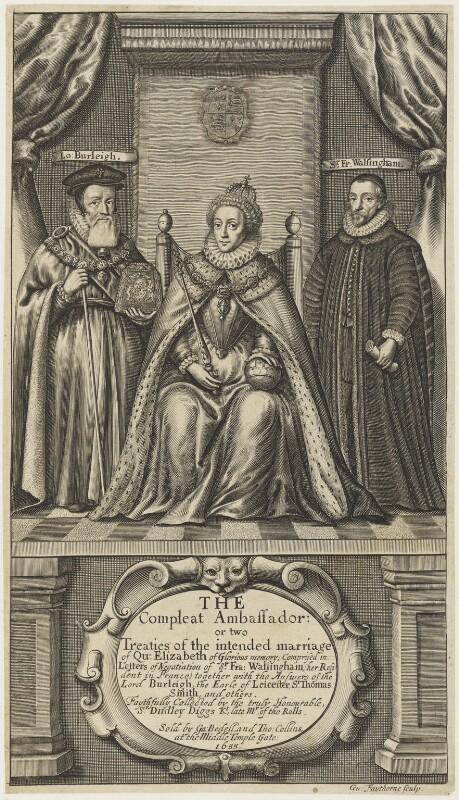 Queen Elizabeth I; Sir Francis Walsingham; William Cecil, 1st Baron Burghley, by William Faithorne, 1655 - NPG D19080 - © National Portrait Gallery, London