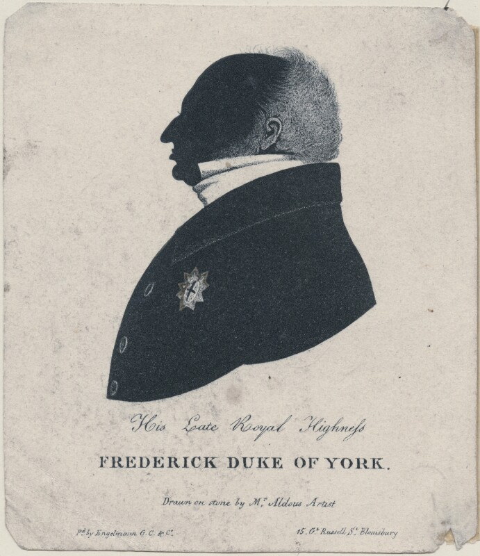 Frederick, Duke of York and Albany, by W. Aldous, after 1827 - NPG D16379 - © National Portrait Gallery, London