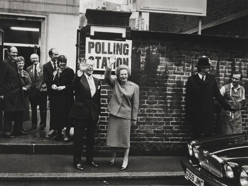 Sir Denis Thatcher, 1st Bt; Margaret Thatcher, Karen Buxton, Peter Leonard Brooke and five unknown figures, by Anne-Katrin Purkiss, 11 June 1987 - NPG x31695 - © National Portrait Gallery, London