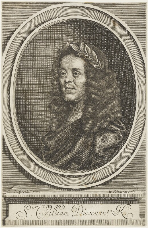 Sir William Davenant, by William Faithorne, after  John Greenhill, published 1672 - NPG D19144 - © National Portrait Gallery, London