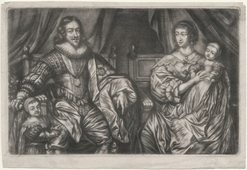 King Charles I; Henrietta Maria; and their two eldest children, King Charles II and Mary, Princess Royal and Princess of Orange, after Sir Anthony van Dyck, (circa 1632) - NPG D16422 - © National Portrait Gallery, London