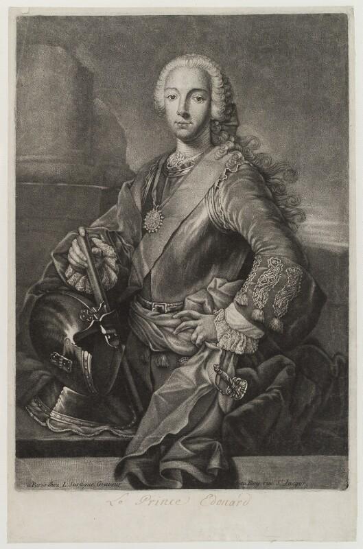 Prince Charles Edward Stuart, by Louis Surugue, after  Domenico Duprà, (1740) - NPG D19272 - © National Portrait Gallery, London