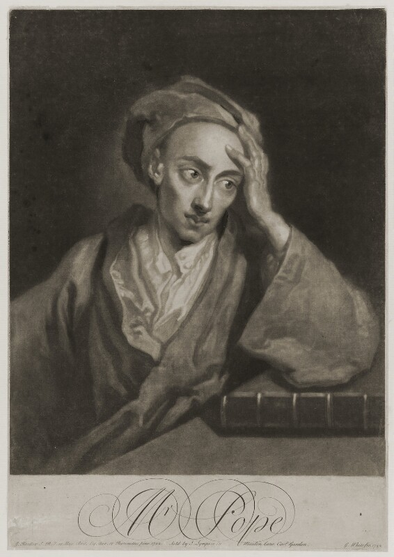 Alexander Pope, by George White, sold by  Samuel Sympson, after  Sir Godfrey Kneller, Bt, 1732 (1722) - NPG D19286 - © National Portrait Gallery, London