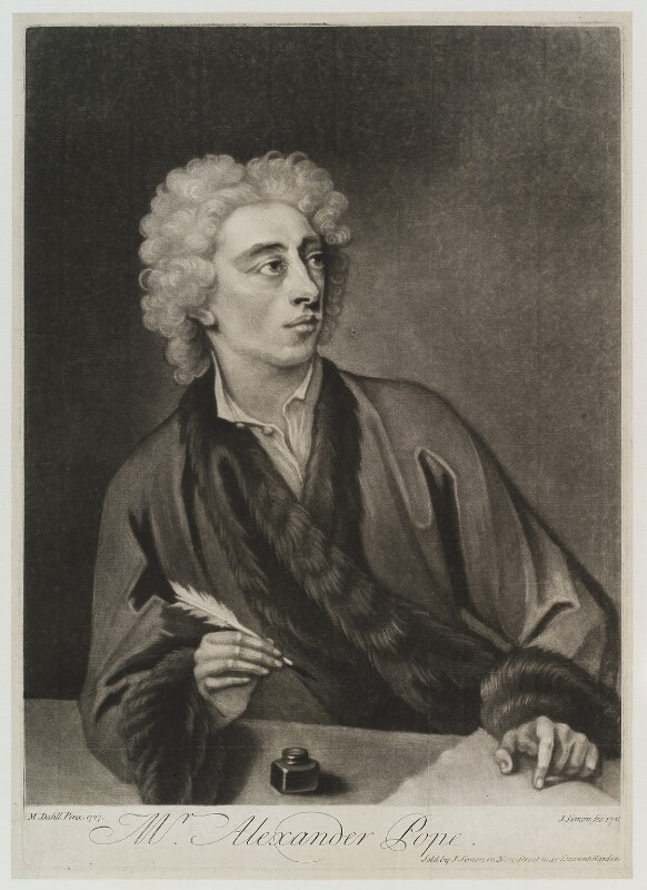 Alexander Pope, by and sold by John Simon, after  Michael Dahl, 1728 (1727) - NPG D19307 - © National Portrait Gallery, London