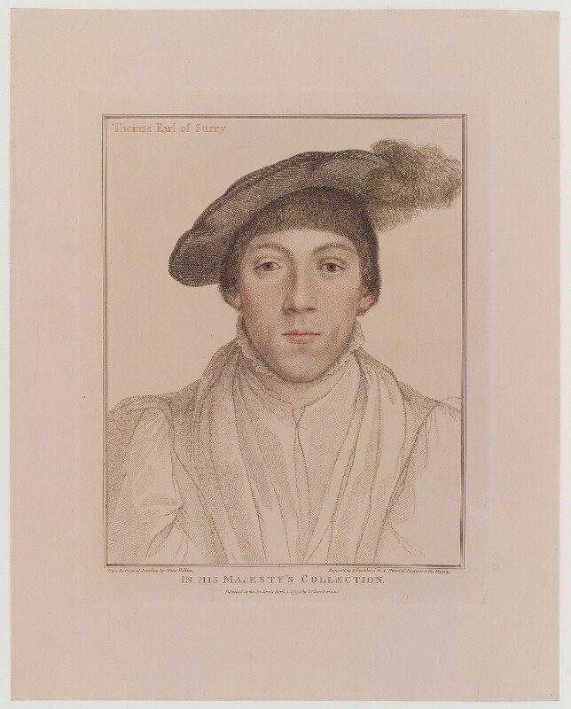Henry Howard, Earl of Surrey, by Francesco Bartolozzi, published by  John Chamberlaine, after  Hans Holbein the Younger, published 1 April 1795 (1532) - NPG D19312 - © National Portrait Gallery, London