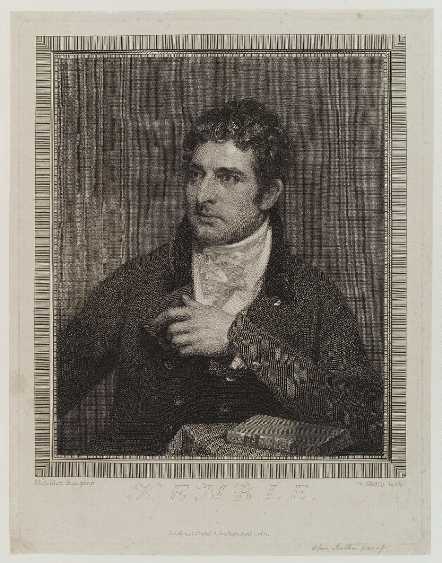 John Philip Kemble, by and published by William Sharp, after  Sir Martin Archer Shee, published 7 April 1803 - NPG D19330 - © National Portrait Gallery, London