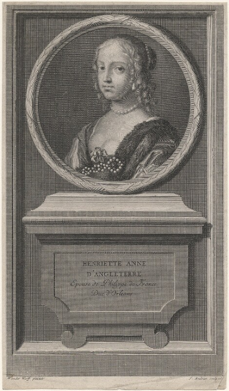 Henrietta Anne, Duchess of Orleans, by Jean Audran, after  Claude Mellan, published 1707 - NPG D16464 - © National Portrait Gallery, London