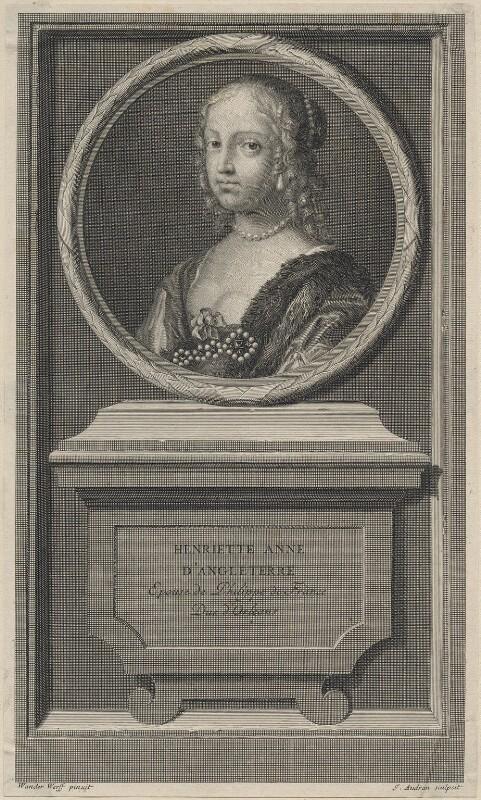 Henrietta Anne, Duchess of Orleans, by Jean Audran, after  Claude Mellan, published 1707 - NPG D16465 - © National Portrait Gallery, London