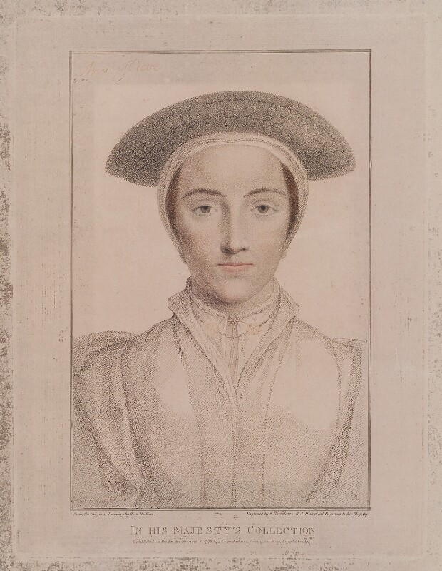 called Anne of Cleves, by Francesco Bartolozzi, published by  John Chamberlaine, after  Hans Holbein the Younger, published 3 June 1796 - NPG D19386 - © National Portrait Gallery, London