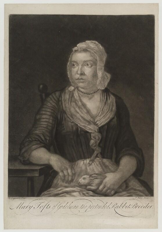Mary Toft (née Denyer), by John Faber Jr, after  John Laguerre, circa 1726 - NPG D19401 - © National Portrait Gallery, London