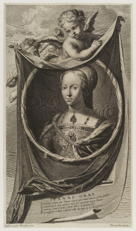 Lady Jane Grey, by Cornelis Martinus Vermeulen, after  Adriaen van der Werff, published 1697 - NPG D19425 - © National Portrait Gallery, London