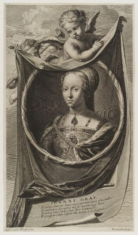 Lady Jane Grey, by Cornelis Martinus Vermeulen, after  Adriaen van der Werff, published 1697 - NPG D19425 - © National Portrait Gallery, London