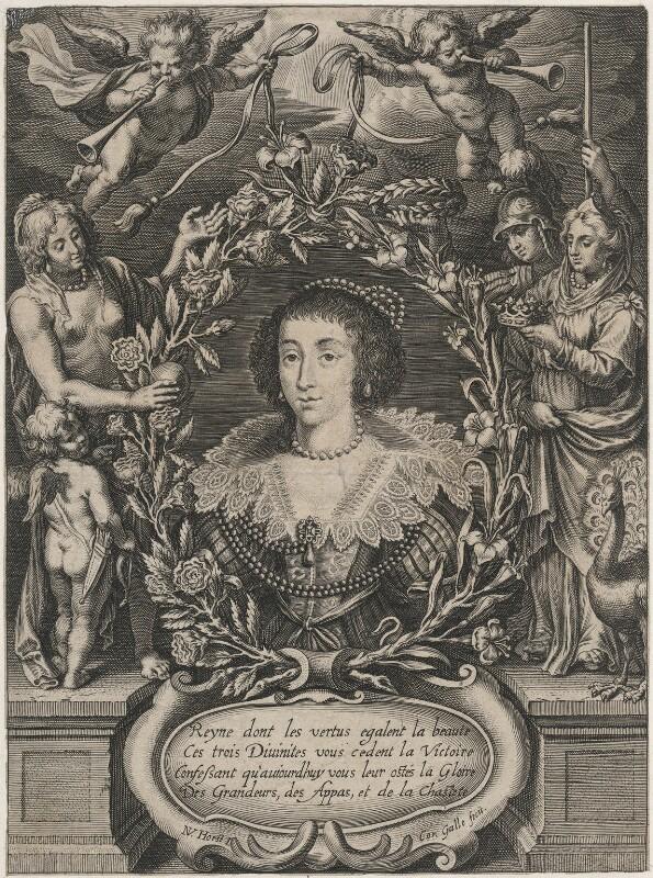 Henrietta Maria, by Cornelis Galle the Younger, after  Nicolaus van der Horst, (1625-1635) - NPG D16482 - © National Portrait Gallery, London