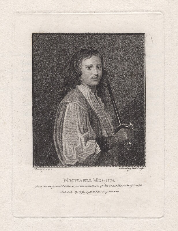 Michael Mohun, by Edward Harding, published by  E. & S. Harding, after  Silvester Harding, published 19 July 1793 - NPG D16531 - © National Portrait Gallery, London