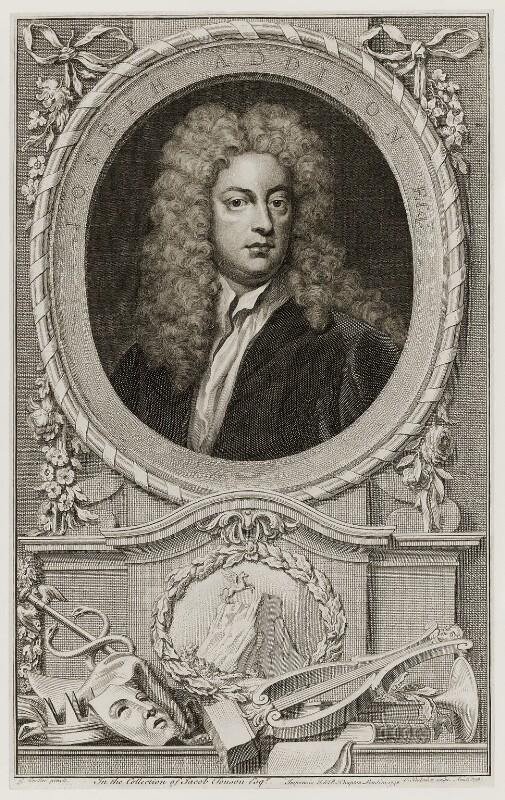 Joseph Addison, by Jacobus Houbraken, published by  John & Paul Knapton, after  Sir Godfrey Kneller, Bt, published 1748 - NPG D19551 - © National Portrait Gallery, London