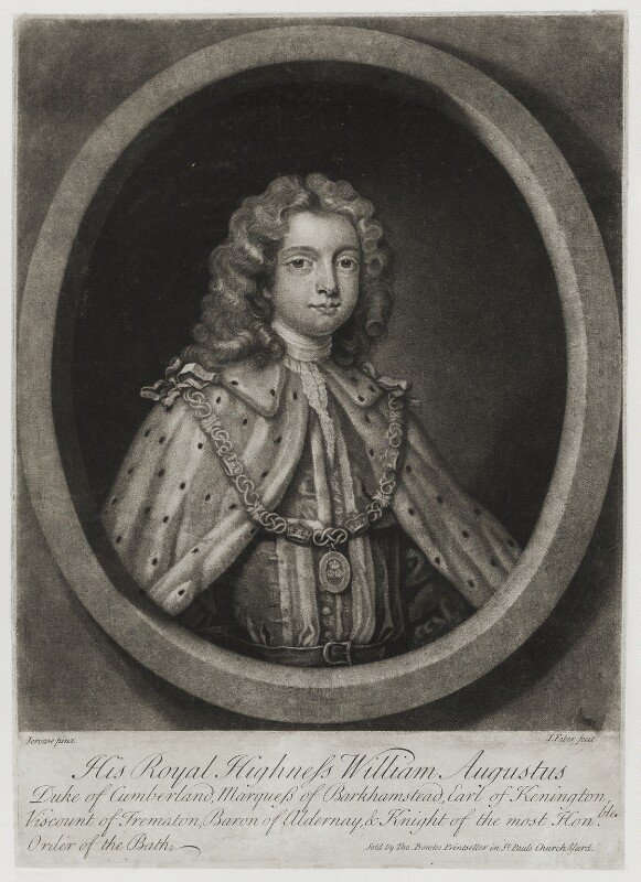 William Augustus, Duke of Cumberland, by John Faber Jr, published by  Thomas Bowles Jr, after  Charles Jervas, circa 1725-1750 - NPG D19579 - © National Portrait Gallery, London