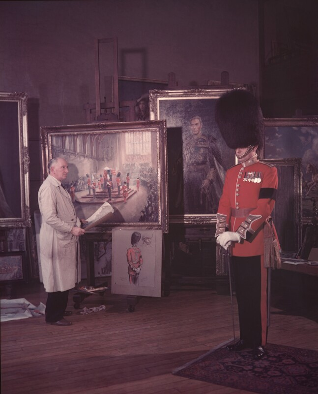 Frank Ernest Beresford with a soldier, by (Edward) Russell Westwood, 1952 - NPG x126493 - © estate of Russell Westwood / National Portrait Gallery, London