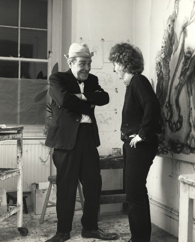 Max Wall; Maggi Hambling, by Prudence Cuming, 21 December 1982 - NPG x126499 - © National Portrait Gallery, London
