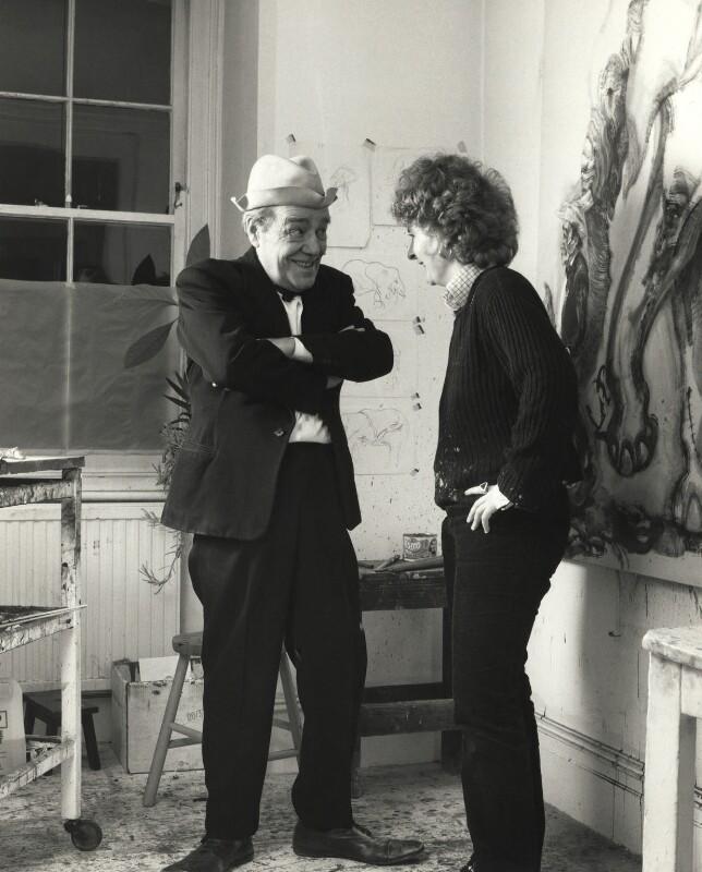 Max Wall; Maggi Hambling, by Prudence Cuming, 21 December 1982 - NPG x126499 - © National Portrait Gallery, London