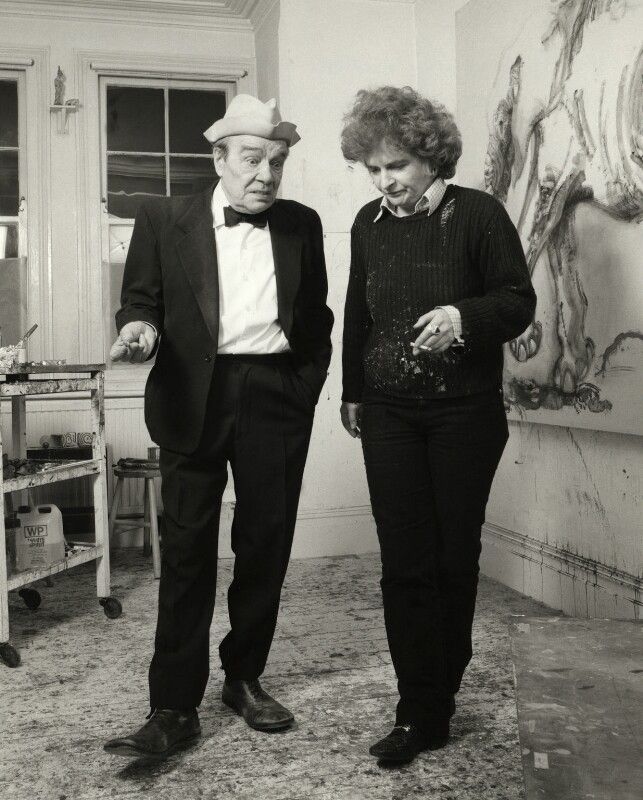 Max Wall; Maggi Hambling, by Prudence Cuming, 21 December 1982 - NPG x126702 - © National Portrait Gallery, London