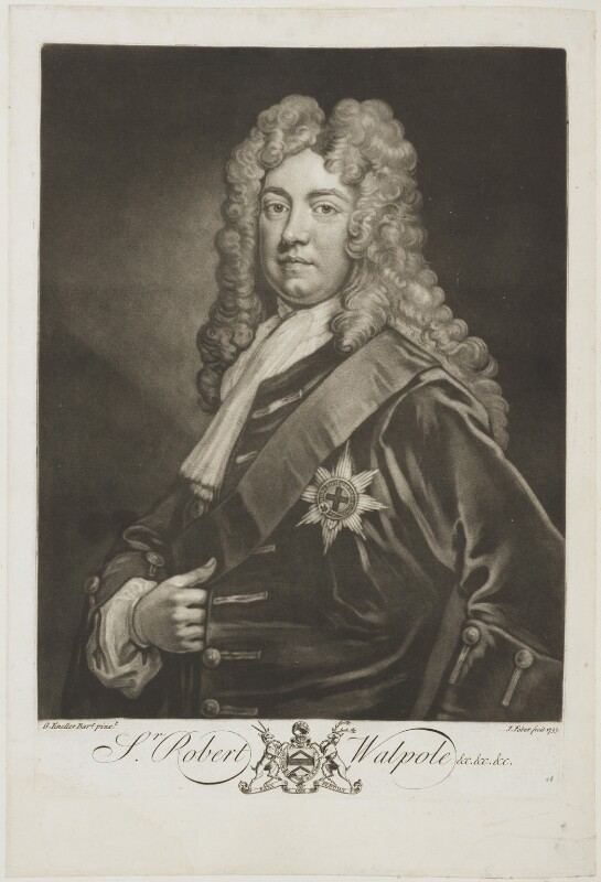 Robert Walpole, 1st Earl of Orford, by John Faber Jr, after  Sir Godfrey Kneller, Bt, 1733 - NPG D19606 - © National Portrait Gallery, London
