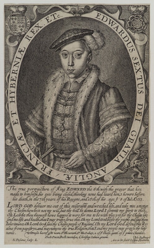 King Edward VI, by Simon de Passe, sold by  John Sudbury, and sold by  George Humble, published 1620 - NPG D19609 - © National Portrait Gallery, London