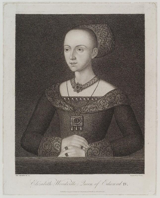 Elizabeth Woodville, by Georg Siegmund Facius, published by  William Richardson, after  Thomas Kerrich, published 1 August 1803 - NPG D19617 - © National Portrait Gallery, London