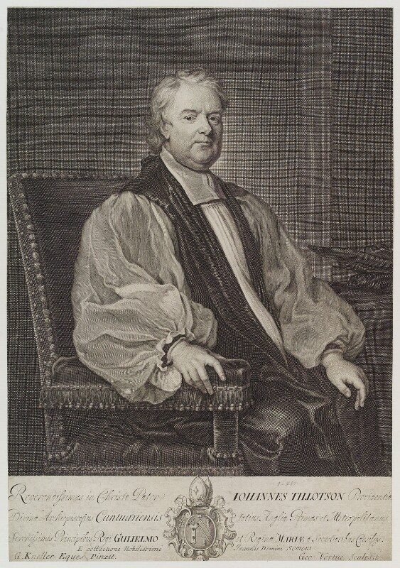 John Tillotson, by George Vertue, after  Sir Godfrey Kneller, Bt, engraved 1710 - NPG D19625 - © National Portrait Gallery, London