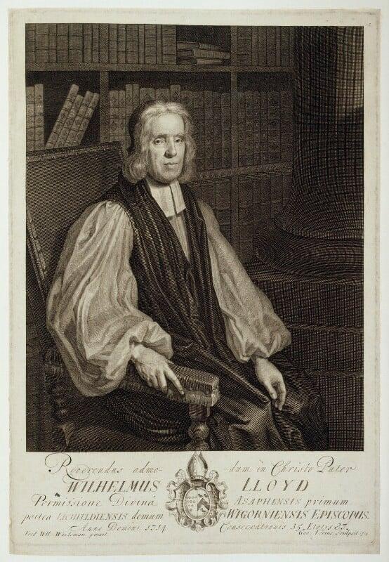 William Lloyd, by George Vertue, after  Friedrich Wilhelm Weidemann, 1714 - NPG D19637 - © National Portrait Gallery, London