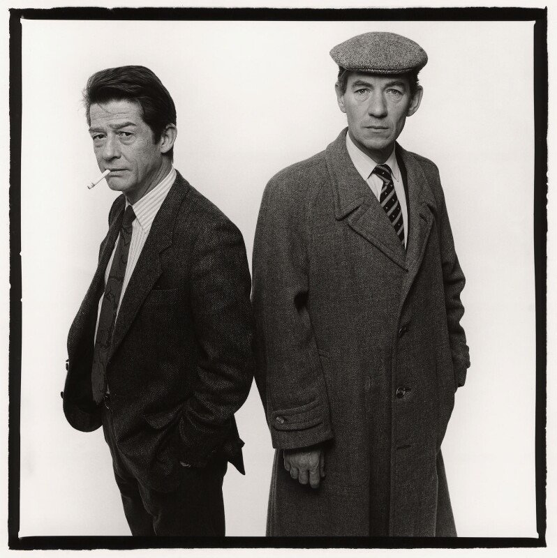 Sir John Hurt as 'Stephen Ward' and Ian McKellen as 'John Profumo' in 'Scandal', by Trevor Leighton, 10 December 1988 - NPG x35320 - © Trevor Leighton / National Portrait Gallery, London
