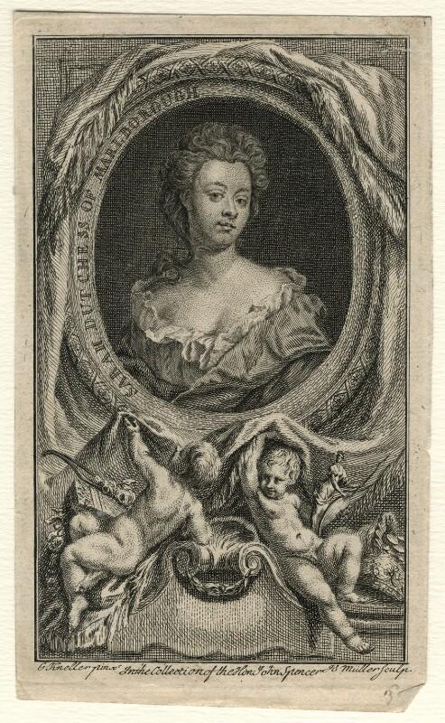Sarah Churchill (née Jenyns (Jennings)), Duchess of Marlborough, by Johann Sebastian Müller, after  Sir Godfrey Kneller, Bt, mid 18th century - NPG D16549 - © National Portrait Gallery, London