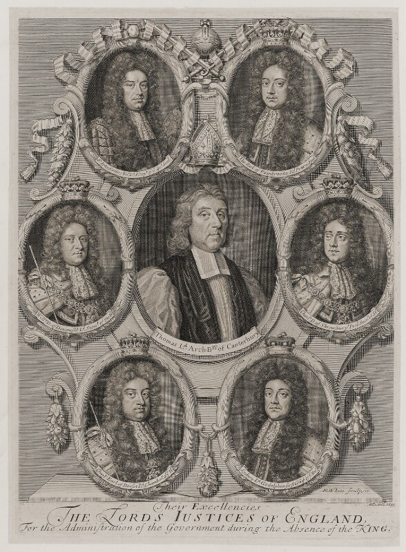 'Their Excellencies the Lords Justices of England, for the administration of the Government during the absence of the King', by Robert White, 1695 - NPG D19654 - © National Portrait Gallery, London
