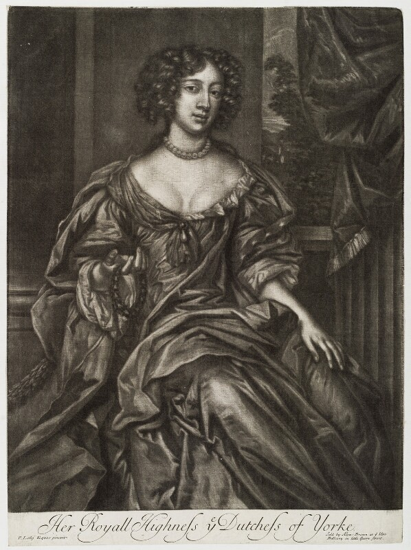 Mary of Modena when Duchess of York, published by Alexander Browne, after  Sir Peter Lely, 1678-1679 - NPG D19676 - © National Portrait Gallery, London