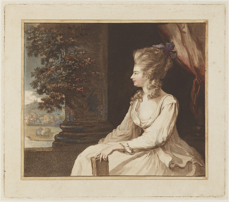 Georgiana Cavendish (née Spencer), Duchess of Devonshire, by Francesco Bartolozzi, after  Lady Diana Beauclerk (née Spencer), (1779) - NPG D19693 - © National Portrait Gallery, London