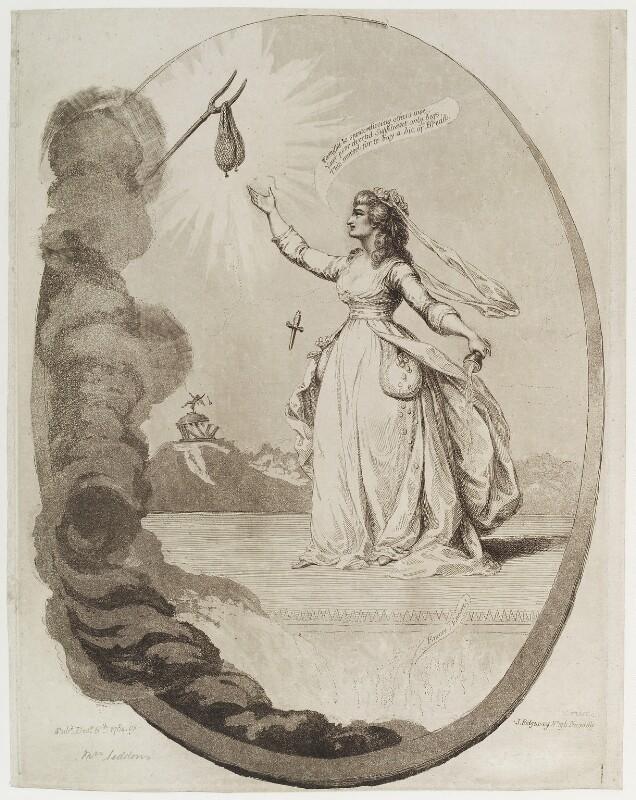 Sarah Siddons (née Kemble) as Melpomene, by James Gillray, published by  James Ridgway, published 6 December 1784 - NPG D19729 - © National Portrait Gallery, London