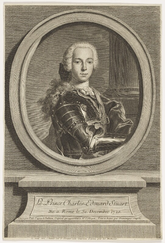 Prince Charles Edward Stuart, by Gilles Edme Petit, after  Domenico Duprà, mid 18th century - NPG D16609 - © National Portrait Gallery, London