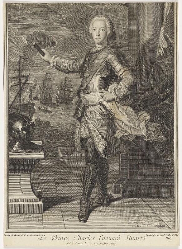 Prince Charles Edward Stuart, by Nicolas Jean Baptiste Poilly, after  Domenico Duprà, 1746 - NPG D16610 - © National Portrait Gallery, London