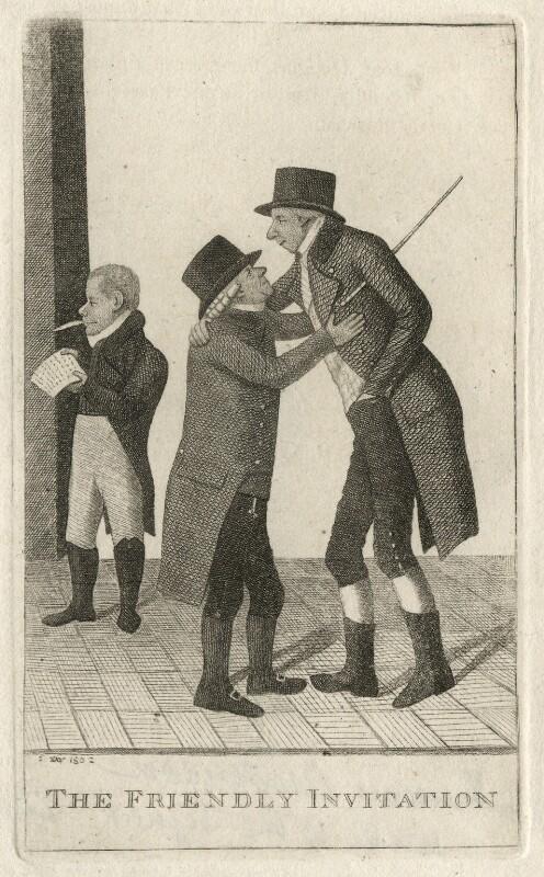 'The Friendly Invitation' (George Hunter; James Hunter; Francis Anderson), by John Kay, 1802 - NPG D16624 - © National Portrait Gallery, London