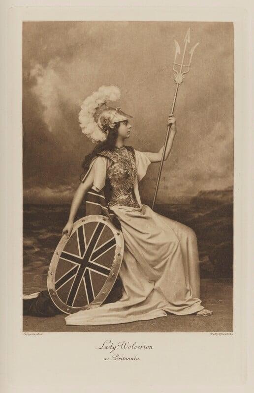 Edith Amelia (née Ward), Lady Wolverton as Britannia, by Lafayette (Lafayette Ltd), photogravure by  Walker & Boutall, 1897; published 1899 - NPG Ax41044 - © National Portrait Gallery, London