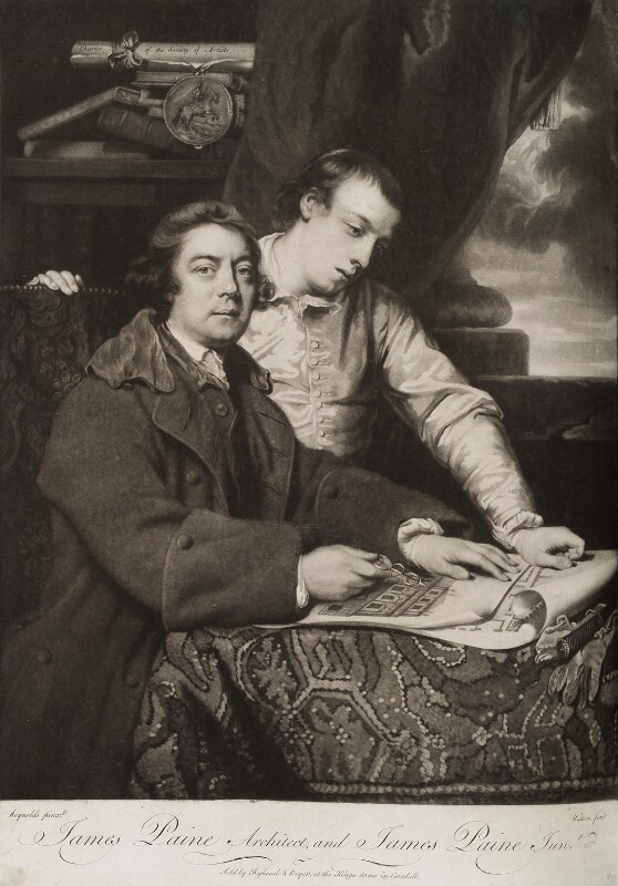James Paine the Elder; James Paine the Younger, by James Watson, sold by  Ryland and Bryer, after  Sir Joshua Reynolds, (1764) - NPG D19791 - © National Portrait Gallery, London