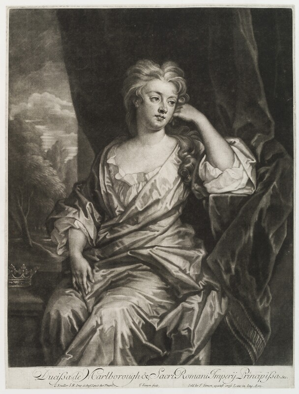 Sarah Churchill (née Jenyns (Jennings)), Duchess of Marlborough, by and published by John Simon, after  Sir Godfrey Kneller, Bt, circa 1700-1725 - NPG D19837 - © National Portrait Gallery, London
